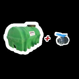 """Kit Citerne verte PEHD 3500L densité 1300 kg/m3 (EP) + Vanne PVC 2"""" + Raccord pompier"""