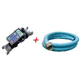 """Volucompteur programmable pour eau et engrais liquide avec kit tuyauterie PVC 0 2"""" 5 m"""