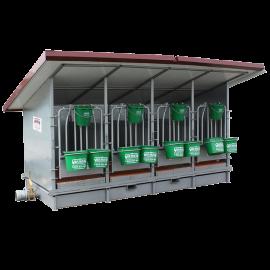 Box à veaux 4 places avec bac de rétention, toit isolé et parois PVC