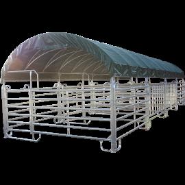 Modulabri avec barrières texas 12x4 m et bâche de couverture
