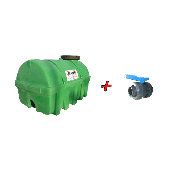 """Kit Citerne verte PEHD 5000L densité 1300 kg/m3 (EP) + Vanne PVC 2"""" + Raccord pompier Mâle"""