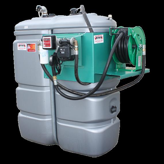 """Station fuel double paroi PEHD sans odeur 1000 L """"modèle Confort+"""" avec enrouleur et limiteur de remplissage 2"""""""