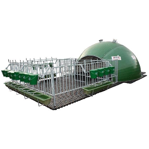 Niche à veaux igloo 16 veaux complète avec parc et caillebotis complet