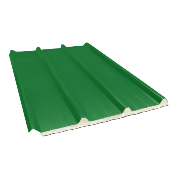Tôle nervurée 45-333-1000 isolée sandwich 40 mm, vert reseda RAL6011, 7,5 m