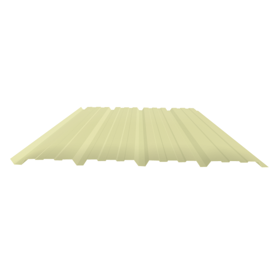 Tôle nervurée 25-267-1070, 60/100e jaune sable bardage - 7,5 m