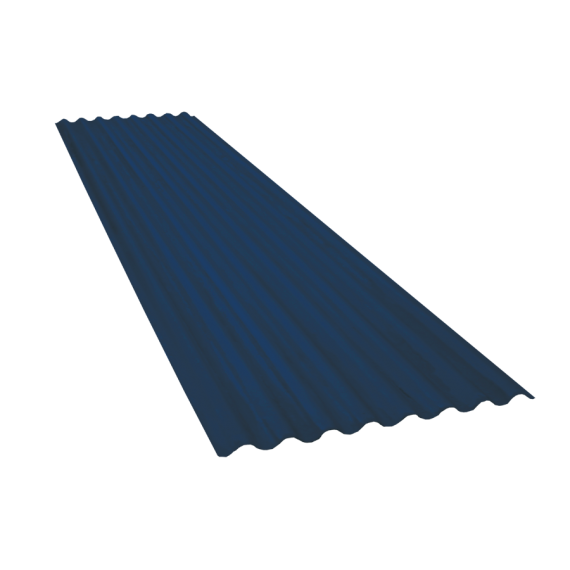 Tôle ondulée 15 ondes bleu ardoise RAL5008, épaisseur 0,60, 4 m
