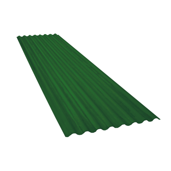 Tôle ondulée 15 ondes vert reseda RAL6011, épaisseur 0,60, 4 m