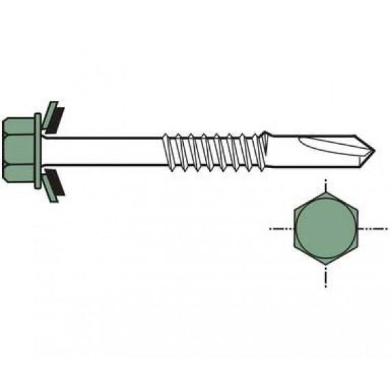 Vis autoforante longue pour charpente métallique, 6,3x100, vert reseda RAL6011, 100 pièces