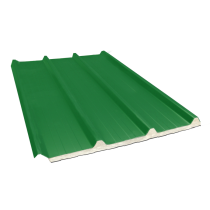 Tôle nervurée 45-333-1000 isolée sandwich 40 mm, vert reseda RAL6011, 4,5 m