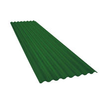 Tôle ondulée 15 ondes vert reseda RAL6011, épaisseur 0,60, 4,5 m