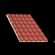 Tôle tuile isolée terra cotta, épaisseur 80 mm - 6,5 m