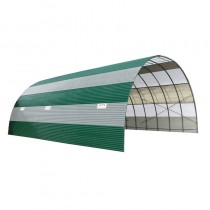 Tunnel de stockage en tôle ondulée anti-condensation combiné avec plaque translucide hauteur 3,90 m longueur 10 m