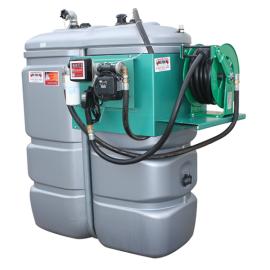 """Station citerne fuel double paroi en plastique PEHD sans odeur 1500 L """"modèle Confort+"""" avec enrouleur et limiteur de remplissage 2"""""""