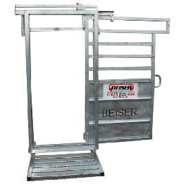 Porte arrière de métier ou cage à bovin ouverture latérale