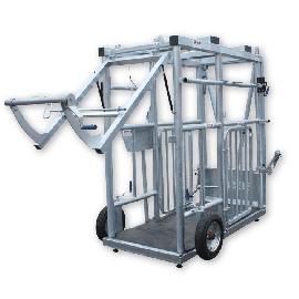 Porte arrière de métier ou cage à bovin sur vérin à ouverture verticale