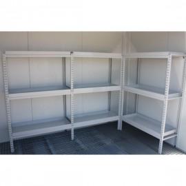 Étagères en kit 2 + 1 mètres pour local phytosanitaire isolé 2 x 3 mètres