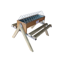 Mangeoire en tôle laquée avec perchoir en bois 60 cm