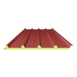 Panneau SANDWICH de TOITURE ROUGE RAL 3009, 10 m 4-250-40