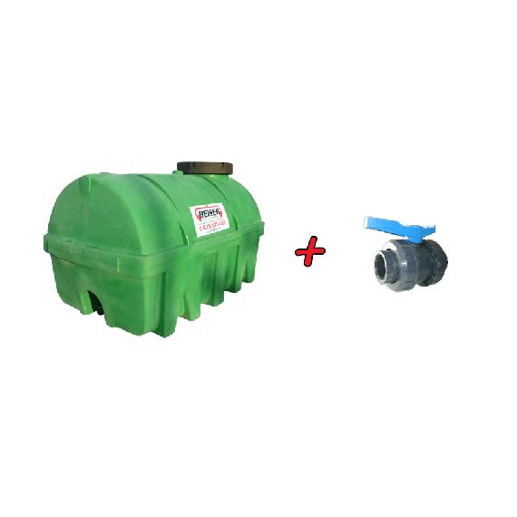 """Kit citerne verte en plastique PEHD 5000L densité 1300 kg/m3 (EP) + Vanne PVC 2"""" + Raccord pompier mâle"""