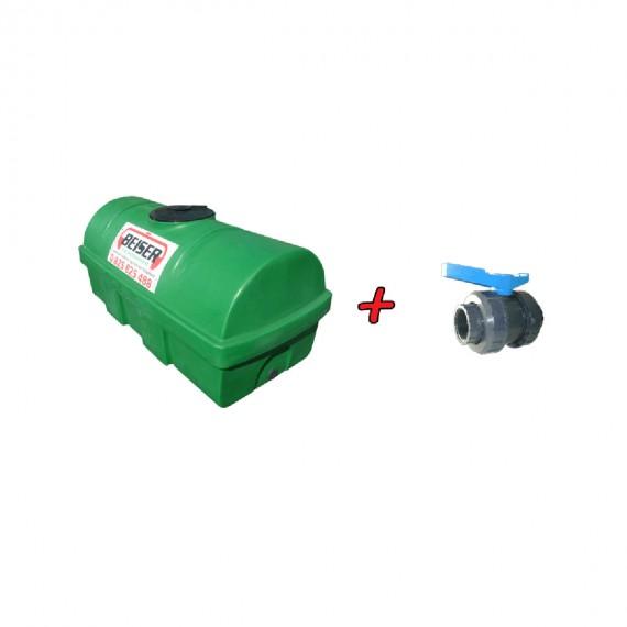 """Kit citerne verte en plastique PEHD 1200L densité 1300 kg/m3 (EP) + Vanne PVC 2"""" + Raccord pompier mâle"""