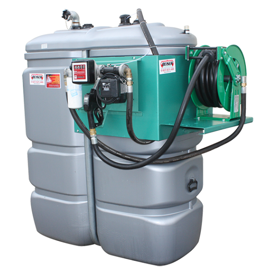 """Station fuel double paroi PEHD sans odeur 750 L """"modèle Confort+"""" avec enrouleur et limiteur de remplissage 2"""""""