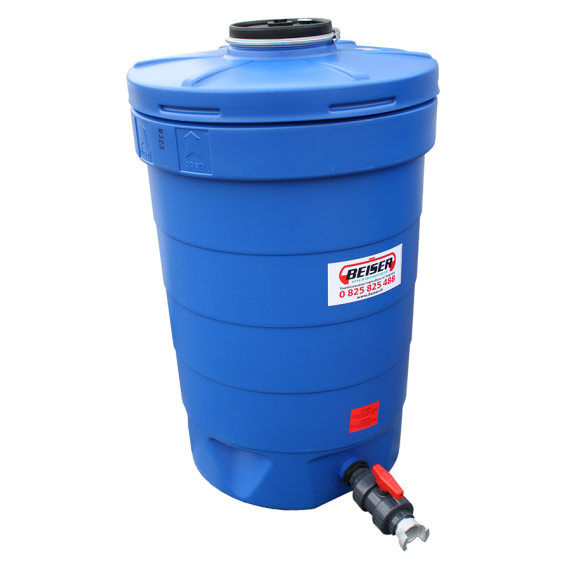 Citerne ronde 500 litres en plastique PEHD bleue compacte qualité alimentaire