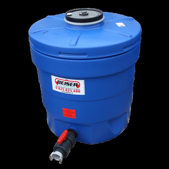 Citerne ronde 350 litres en plastique PEHD bleue compacte qualité alimentaire