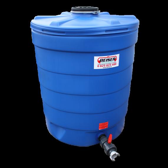 Citerne ronde 1000 litres en plastique PEHD bleue compacte qualité alimentaire