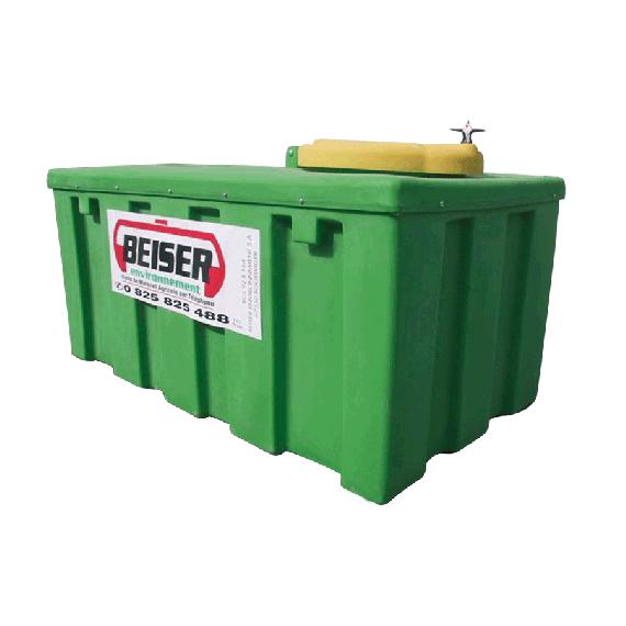 Citerne de récupération renforcée pour huiles usagées en plastique PEHD 1500 litres