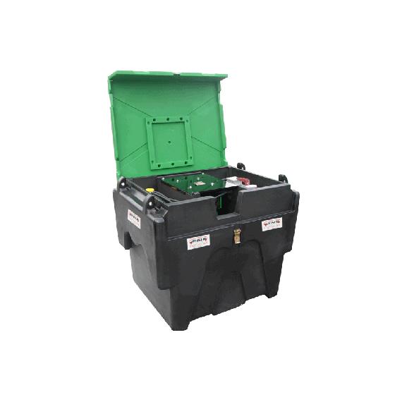Pack transport du fuel en plastique PEHD 450 litres avec pompe 80 L/min 12 V et enrouleur de 8 m