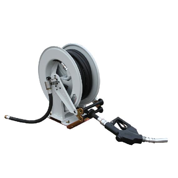 Enrouleur gasoil avec 15m de tuyau et support pivotant 100l/min