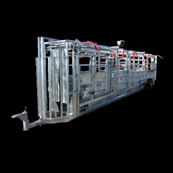 Couloir de contention galvanisé 10,50 m avec relevage hydraulique, pesée, porte de tri droite/gauche, nouveau modèle