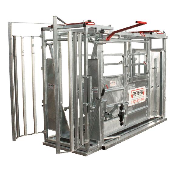 Cage à bovin avec réducteur de largeur et porte guillotine