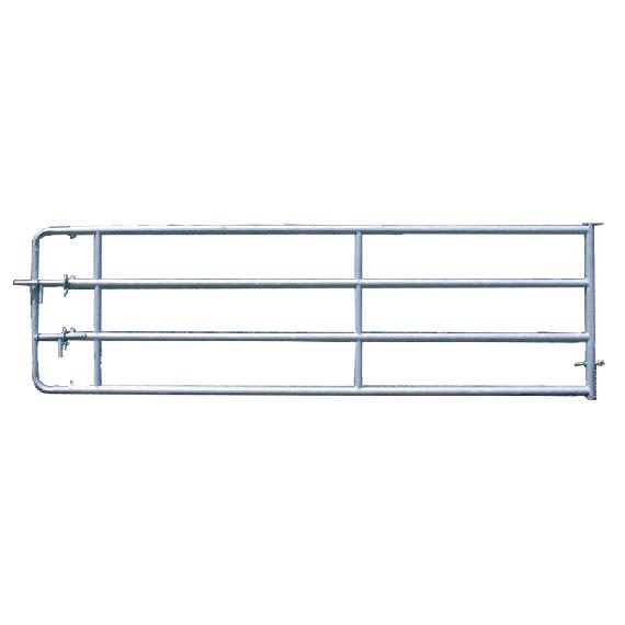 Barrière de stabulation galvanisée 4 lisses 3/4 m, avec verrou