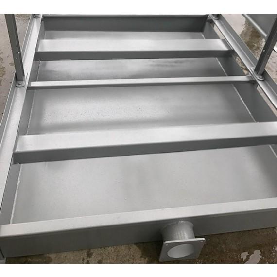 Bac de rétention pour box à veaux 2 places avec vanne tonne à lisier diamètre 150 mm