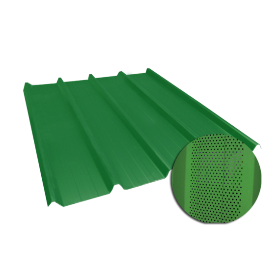 Tôle nervurée 45-333-1000, 60/100e vert reseda perforée - 5 m
