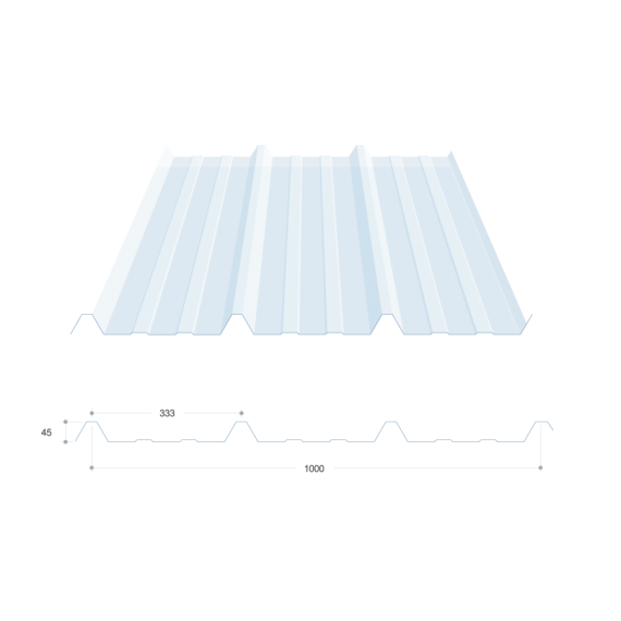 Tôle nervurée 45-333-1000, polycarbonate transparent - 4 m