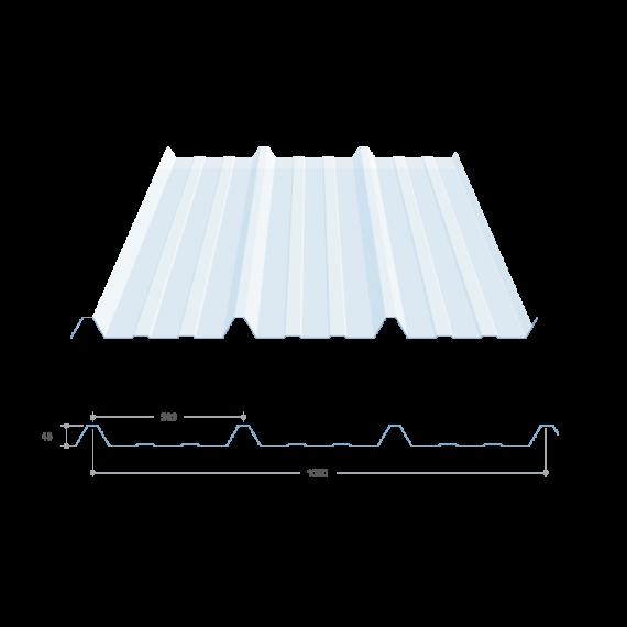 Tôle nervurée 45-333-1000, polycarbonate transparent - 12 m