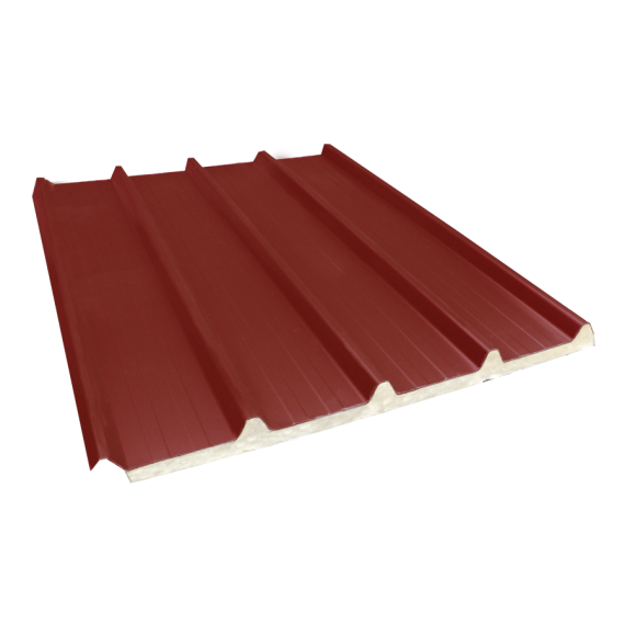 Tôle nervurée 33-250-1000 isolée économique 40 mm, brun rouge RAL8012, 5 m