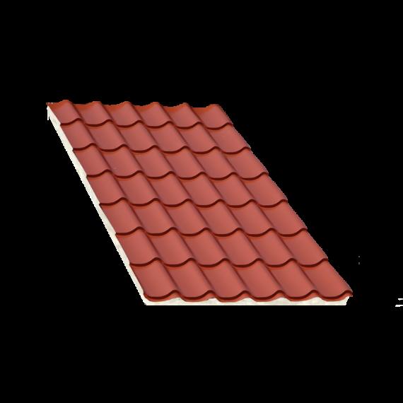 Tôle tuile isolée terra cotta, épaisseur 40 mm - 6,5 m