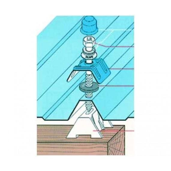Kit fixation charpente bois, bleu ardoise RAL5008, par tirefond 80 mm, 100 pièces