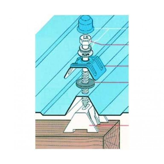 Kit fixation charpente bois, bleu ardoise RAL5008, par tirefond 120 mm, 100 pièces