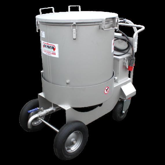 Chariot mélangeur distributeur lait inox sur 4 roues 300 litres
