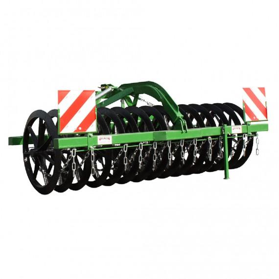 Rouleau tasseur 3.00 m avec roue Ø 900 mm et 2 rangée de dents droits