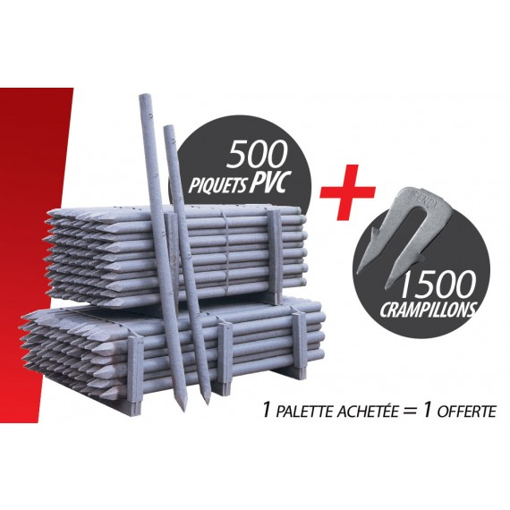 Kit de 500 Pces Piquet PVC (Ø 60 mm 1.50 m) + 1500 Crampillons anti arrachement