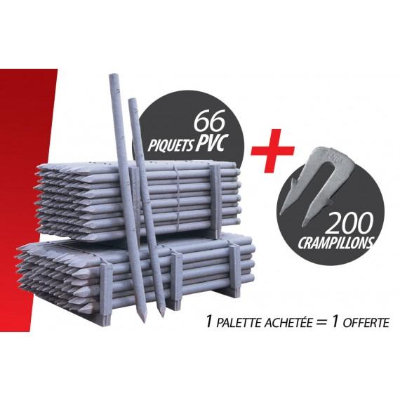 Kit de 66 Pces Piquet PVC (Ø 100 mm 2.50 m) + 200 Crampillons anti arrachement
