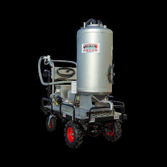 Chariot à lait motorisé 130L inox avec distributeur 12V