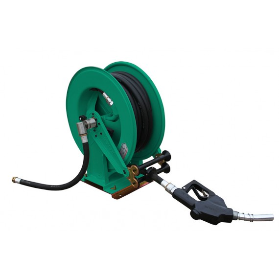 """Enrouleur à gasoil avec 10 m de tuyau 1"""" pour pompe 60 L/min ou 100 L/min sur support pivotant"""