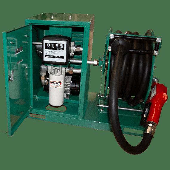 Pompe à fuel 100L/min sécurisée avec enrouleur