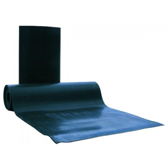 Tapis caoutchouc cannelé 30 m x 1,6 m x 6 mm